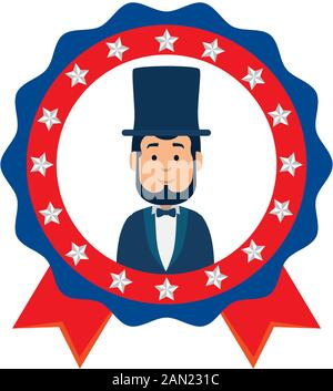 Usa president man inside seal stamp vector design - Stock Photo