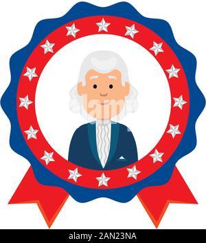 Usa president man inside seal stamp vector design - Stock Photo