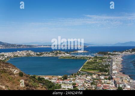Capo Miseno Promonory with the Lake of Miseno, Gulf of Pozzuoli, Naples, Campania, Italy - Stock Photo