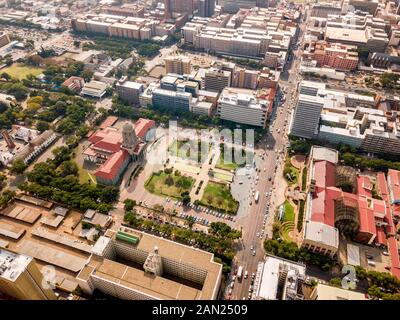Aerial view of Tshwane city hall and Ditsong National Museum of Natural History, Pretoria, South Africa - Stock Photo