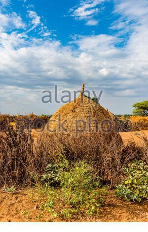 Nyangatom tribe village, Omo Valley, Ethiopia. - Stock Photo