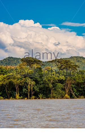 Lake Chamo, Arba Minch, Ethiopia. Lake Chamo is one of the two largest Rift Valley lakes. - Stock Photo