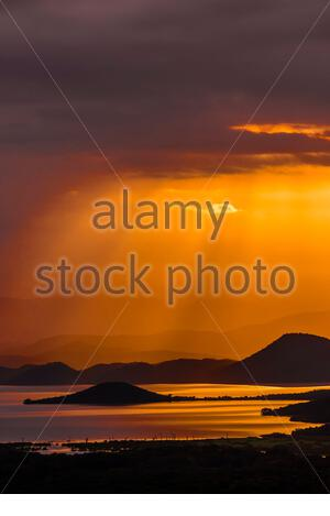 Sunrise, Lake Abaya, Arba Minch, Ethiopia. One of the two largest Rift Valley lakes. - Stock Photo