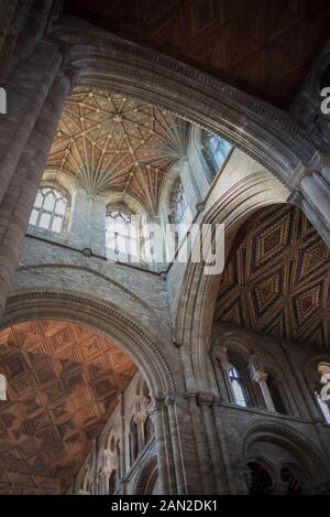 Interior image of Peterborough Cathedral, Cambridgeshire, England, UK - Nave and Norman Tower Ceiling Detail - WOP - Stock Photo
