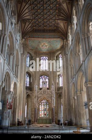 Interior image of Peterborough Cathedral, Cambridgeshire, England, UK - High Alter and Ceiling View - WOP - Stock Photo