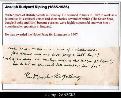 Signature of Joseph Rudyard Kipling (1865-1936), journalist, writer, poet, and novelist - Stock Photo