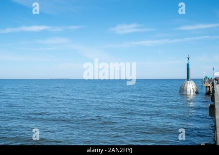 The sea bridge of Zinnowitz on the island Usedom with diving bell. - Stock Photo