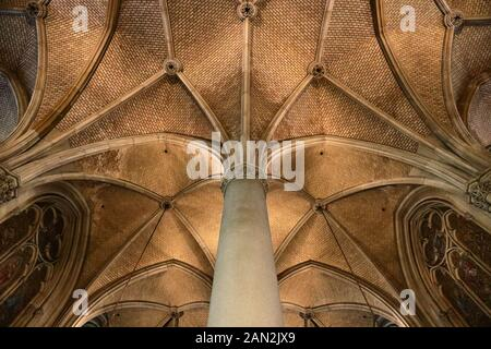 Pillar and ceiling in new cathedral (Mariendom) of Linz, Austria January 2020 - Stock Photo
