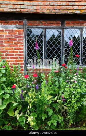 Detail of flower bed and lattice window of typical cottage in country near Chiddingstone , Kent , England - Stock Photo