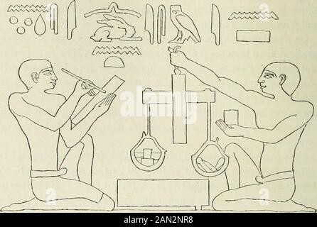 Histoire de l'art dans l'antiquité: Égypte, Assyrie, Perse, Asie Mineure, Grece, Etrurie, Rome . 1. En feuilletant le grand recueil de Champollion, je ne trouve que deux exceptions àcette règle. Dans un bas-relief du temple de Séti, à Gournah, le roi est représenté levantsa massue sur la tète des vaincus; cest le groupe ordinaire, mais avec une variante : deuxdes prisonniers se présentent de face (pi. 274). Au Ramesséum, dans une file de prison-niers, il y en a un qui est vu de face (pi. 332). 2. Ch. Blanc, Grammaire des arts du dessin, p. 469. ?il LEGYPTE. sculpteur a figuré le tronc et les m - Stock Photo