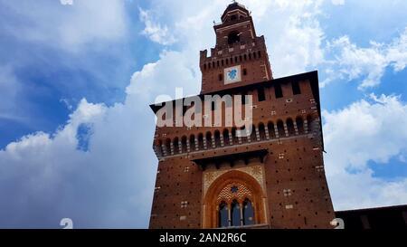 View of Sforza Castle in Milan, Italian architecture, famous ancient landmark - Stock Photo