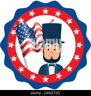 Isolated usa president man inside seal stamp vector design - Stock Photo