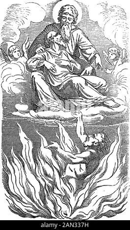 Vintage drawing or engraving of biblical story of Jesus and parable of the rich man and poor Lazarus.Sinner is going to hell, beggar to heaven. Bible,New Testament,Luke 16. Biblische Geschichte , Germany 1859. - Stock Photo