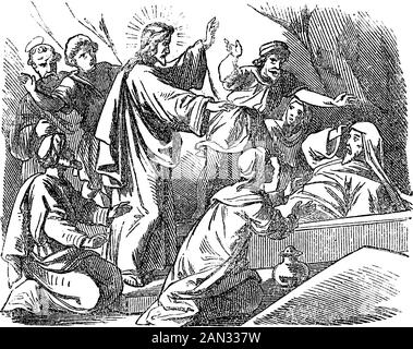 Vintage drawing or engraving of biblical story of Jesus in tomb raises Lazarus from the death. Bible,New Testament,John 11. Biblische Geschichte , Germany 1859. - Stock Photo