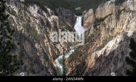 wide shot of high flow over yellowstone falls from artist point - Stock Photo