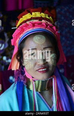 Portrait of a Padaung woman.