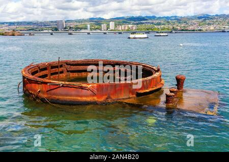 Pearl Harbor, Honolulu, Hawaii - November 05, 2019: rest of the bombed ship at U.S.S. Arizona Memorial. The memorial commemorates the Japanese attack - Stock Photo