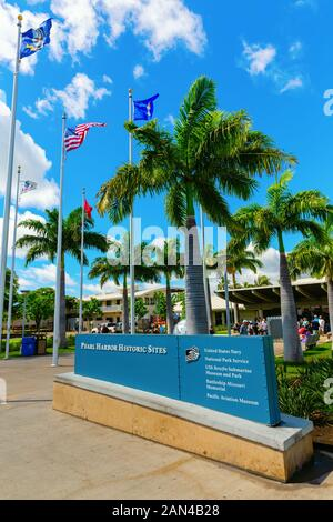 Pearl Harbor, Honolulu, Hawaii - November 05, 2019: entrance of the Pearl Harbor National Memorial with unidentified people. The memorial commemorates - Stock Photo