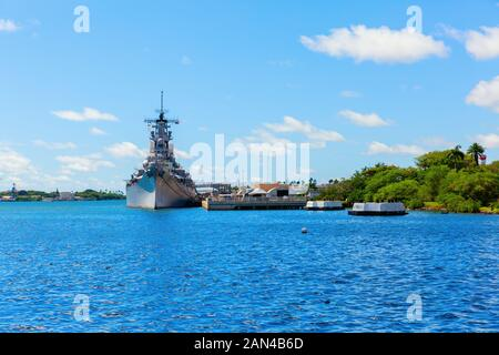 Pearl Harbor, Honolulu, Hawaii - November 05, 2019: U.S.S. Missouri at the Pearl Harbor National Memorial. The memorial commemorates the Japanese atta - Stock Photo