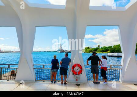 Pearl Harbor, Honolulu, Hawaii - November 05, 2019: U.S.S. Arizona Memorial with unidentified people. The memorial commemorates the Japanese attack on - Stock Photo