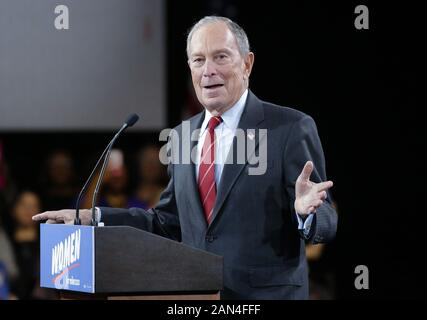 New York, United States. 15th Jan, 2020. Democratic presidential candidate Mike Bloomberg delivers an address when he hosts a kickoff event to launch 'Women for Mike' on Wednesday, January 15, 2020 in New York City. There are now only 12 candidates in the race, down from more than 25 earlier this year. Photo by John Angelillo/UPI Credit: UPI/Alamy Live News - Stock Photo