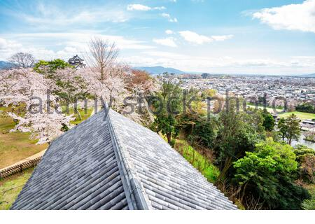 Hikone town and castle park panorama view at spring in Shiga, Japan - Stock Photo