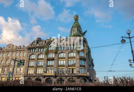 SAINT PETERSBURG. RUSSIA - Former Singer house - house of books (Russian: Dom Knigi) at Nevsky prospect at day - Stock Photo