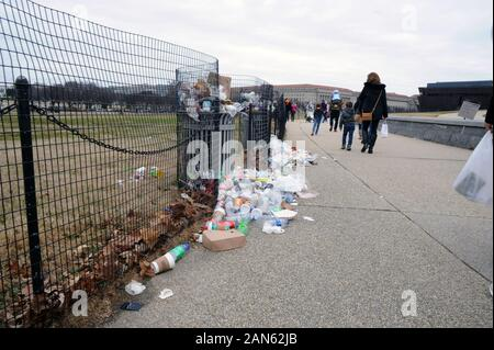 Trash lies uncollected on the National Mall in Washington DC on the 12th day of the partial government shutdown Jan. 2, 2019. - Stock Photo
