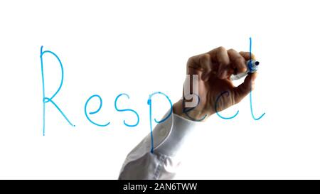Businessman writing respect word on glass, administration process, organization - Stock Photo