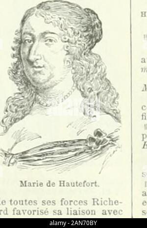 Nouveau Larousse illustré : dictionnaire universel encyclopédique . le roi. En 1640, linfluence de Richelieu lemporta : la favo-rite dut quitter la cour. Elle ny rentra quun instant, aprèsla mon de Louis XIII, éloignée de nouveau par Ihostilitéombrageuse de Mazarin. M de Hautefort épousa, eu 1646,le duc de Schomberg, gouverneur de Metz, qui la laissaveuve dix ans après ; elle passa les dernières années desa vie dans la retraite et la pratique de la chanté. HAUTE UCE ou HAUTE LISSE 0. f. Tecbn. V. LICE. haute-licier, ère ou HAUTE-LISSIER, ÈRE n.Artiste qui tait des tapisseries de haute lisse. H - Stock Photo