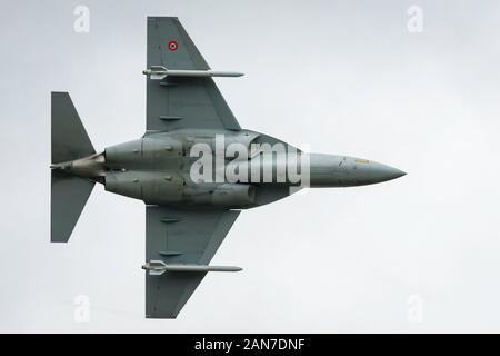 Fairford, Gloucestershire, UK - July 20th, 2019: Italian Airforce M-346 Master displays at Fairford International Air Tattoo 2019 - Stock Photo