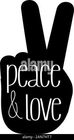 Hand Peace Vector Icon, Hand Symbol Icon. black and white - Stock Photo