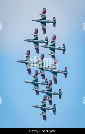 Fairford, Gloucestershire, UK - July 20th, 2019: The Italian Air Force Tricolori performs at Fairford International Air Tattoo 2019 - Stock Photo