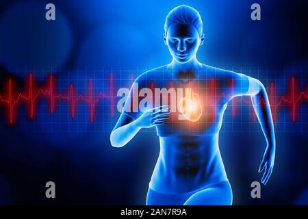 Front view of a sportswoman running with glowing heart and red heartbeat ekg curve. Blue hologram futuristic 3d rendering illustration. Sport, health,