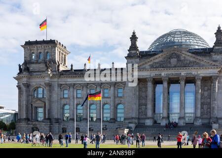 Berlin, Germany- September 28, 2019: view of the Reichstag building by Platz der Republik, 47 Berlin Marathon - Stock Photo