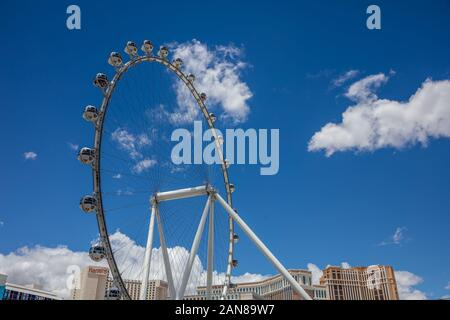 Las Vegas, Nevada, USA. May 27, 2019. Ferris wheel The High Roller with spherical cabins, the tallest observation wheel in the world, blue sky backgro - Stock Photo