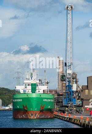 Cork city, Ireland - August 29th, 2012: Arklow Venus General Cargo ship unloading at the port of Cork city, Ireland - Stock Photo