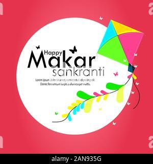 vector illustration of Happy Makar Sankranti holiday India festival backgrounds - Stock Photo