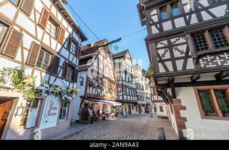 Strasbourg, France - december 1,2019: Traditional half-timbered houses in La Petite France, Strasbourg, Alsace, France Stock Photo