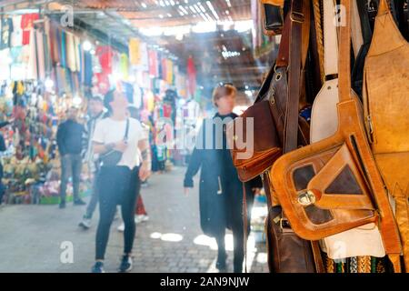 Market with leather bags in medina of Marrakech, Morroco - Stock Photo