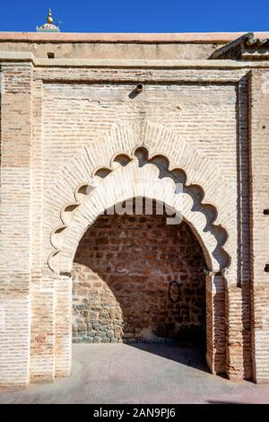 Architectural detail of mosque from 12th century in old town of Marrakech, Morocco - Stock Photo