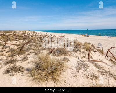 Anchor graveyard on snady dunes of Barril beach, Algarve, Portugal - Stock Photo