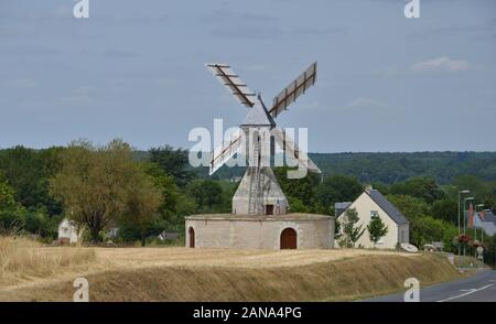 An old windmill in the French plain - Stock Photo