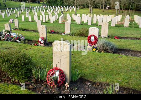 Aldershot Military Cemetery with graves of british and commonwealth servicemen and women, Hampshire, UK. Graves of those killed in the Falklands War - Stock Photo