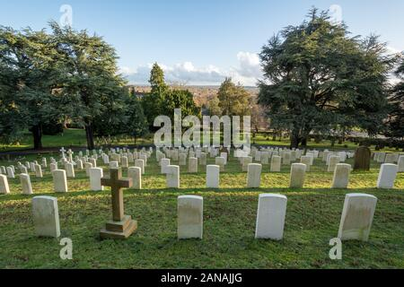 Aldershot Military Cemetery with graves of british and commonwealth servicemen and women, Hampshire, UK - Stock Photo