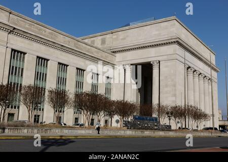 Philadelphia, PA, USA - January 15, 2020: East facade of the William H. Gray III 30th Street Station facing Center City.