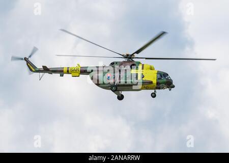 Sliac / Slovakia - August 3, 2019: Slovak Air Force Mil Mi-17 0808 transport helicopter display at SIAF Slovak International Air Fest 2019 - Stock Photo