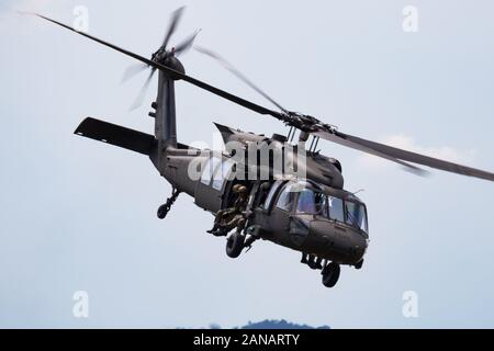 SLIAC / SLOVAKIA - AUGUST 3, 2019: Slovak Air Force Sikorsky UH-60M Black Hawk 7641 transport helicopter display at SIAF Slovak International Air Fest - Stock Photo