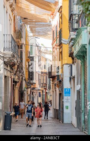 Colourful buildings line a narrow, shaded Calle Cuna, in Seville