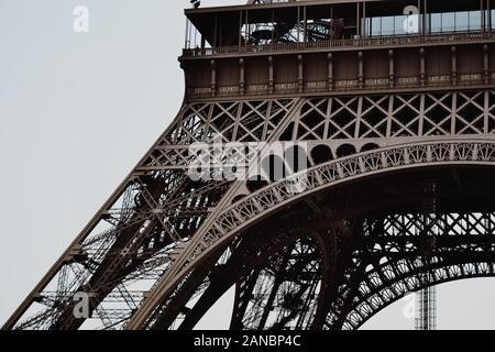 Paris / France - 07 10 2013: Eiffel Tower seen from below - Stock Photo